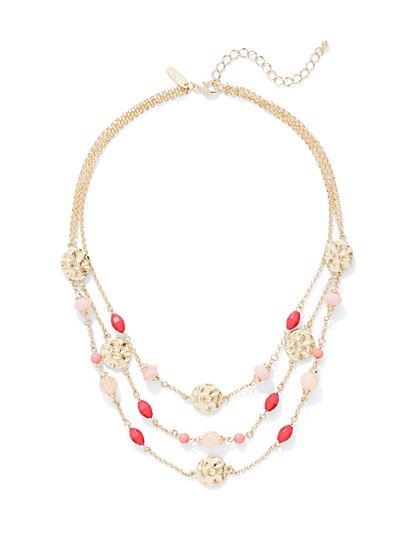 Disc-Accent Beaded Illusion Necklace  - New York & Company
