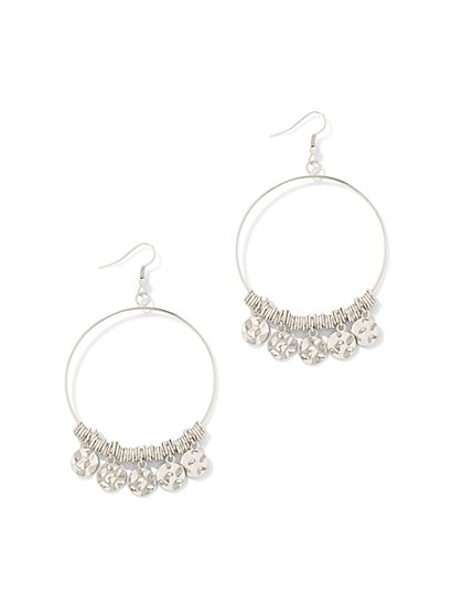 Disc-Accent Hoop Drop Earring  - New York & Company