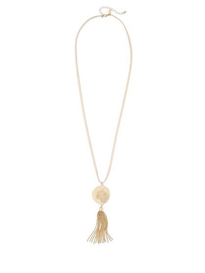 Disc & Tassel Pendant Necklace  - New York & Company