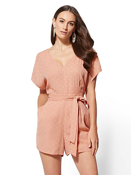 Dot-Print V-Neck Romper - New York & Company
