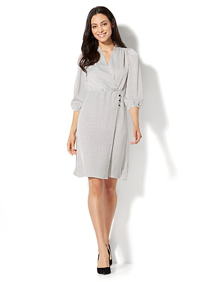 Dot-Print Wrap Dress - New York & Company