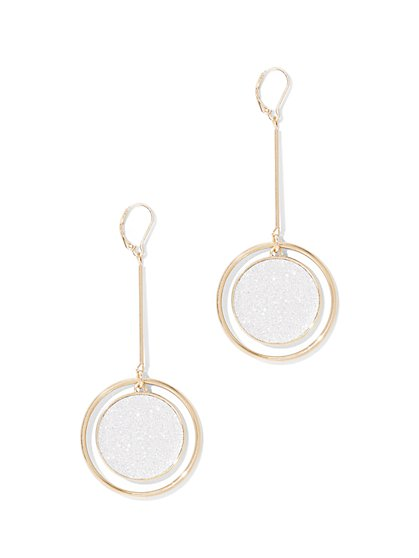 Double-Circle Linear Drop Earring  - New York & Company