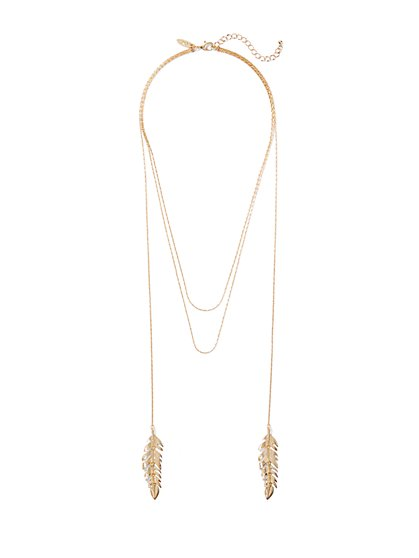 Double-Leaf Lariat Necklace  - New York & Company