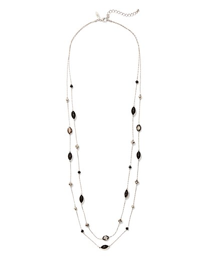 Double-Row Beaded Illusion Necklace - New York & Company