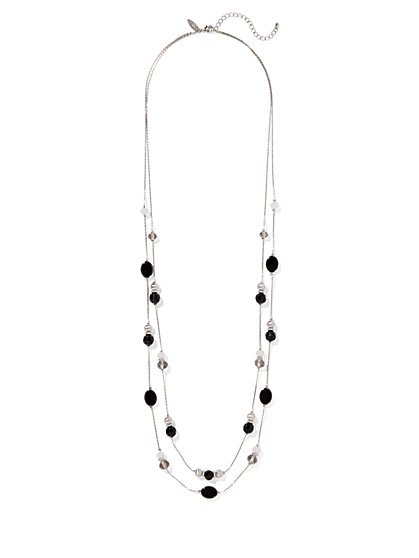 Double-Row Beaded Silvertone Necklace  - New York & Company