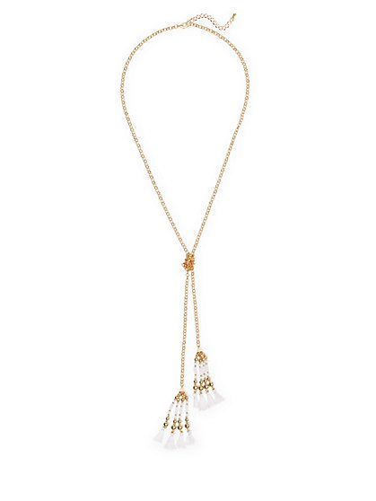 Double-Tassel Beaded Lariat Necklace  - New York & Company