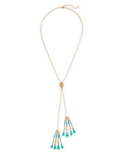 Double-Tassel Beaded Lariat Necklace  - New York & Company