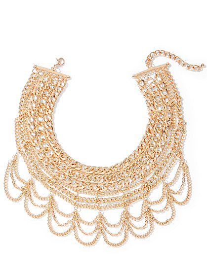 Draped Chain-Link Statement Necklace  - New York & Company