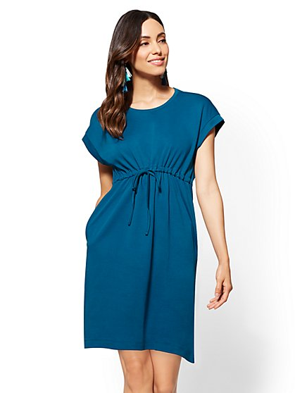 Drawstring-Tie Cotton Shift Dress - New York & Company