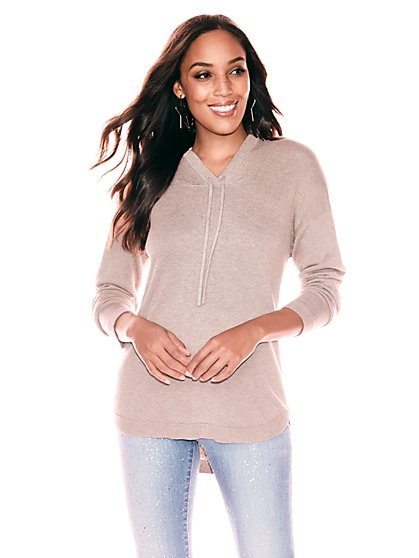 Drawstring-Tie Hooded Sweater - New York & Company