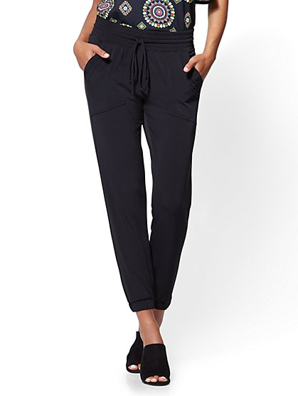 Drawstring-Tie Jogger Pant - Black - New York & Company