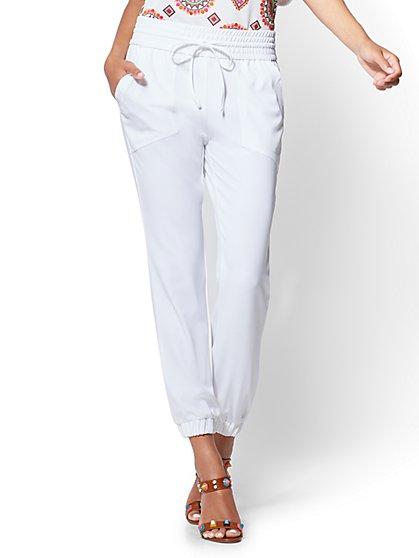 Drawstring-Tie Jogger Pant - White - New York & Company