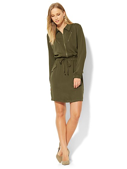 Drawstring-Tie Zip-Front Dress - Olive - New York & Company