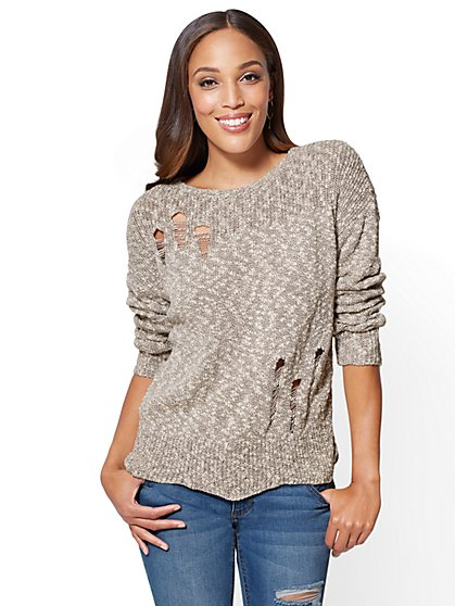 Drop-Shoulder Distressed Sweater - New York & Company