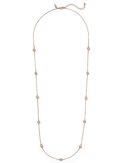 Elongated Beaded Necklace  - New York & Company