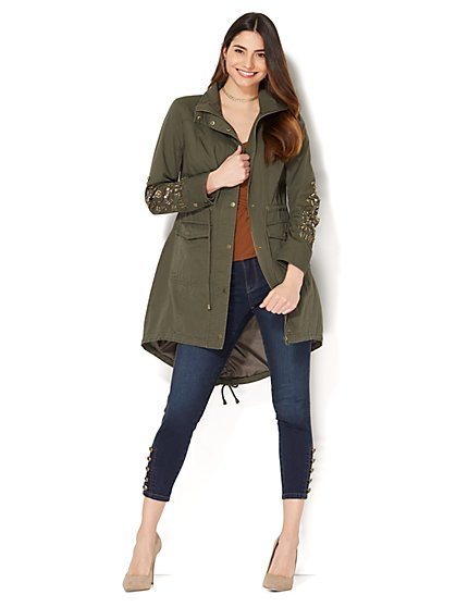 Embellished Anorak Jacket - Olive - New York & Company