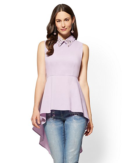 Embellished Hi-Lo Shirt - New York & Company