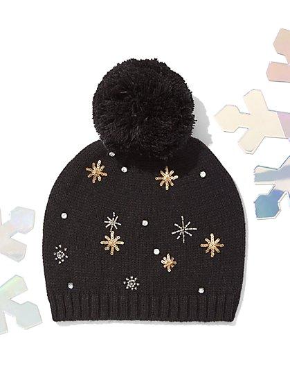 Embellished Knit Pom-Pom Hat - New York & Company