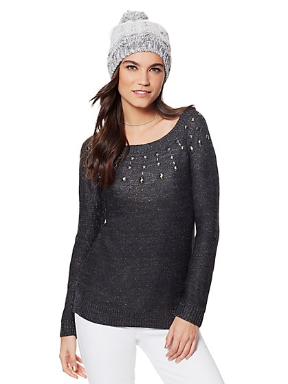 Embellished Lurex Tunic Sweater - New York & Company