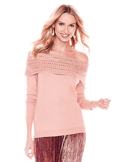 Embellished Metallic Off-The-Shoulder Sweater - New York & Company