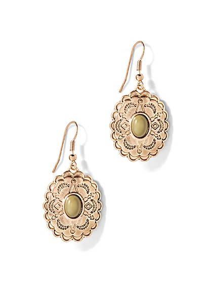 Embellished Oval Drop Earring  - New York & Company