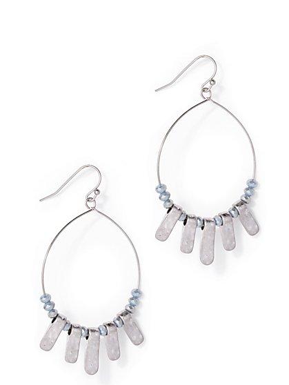 Embellished Silvertone Hoop Drop Earring  - New York & Company