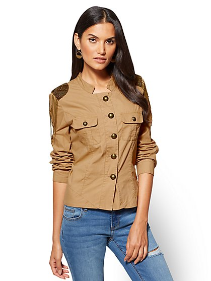 Embellished Twill Jacket - Camel  - New York & Company