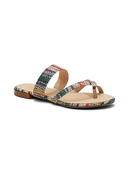 Embossed Crisscross Sandal  - New York & Company