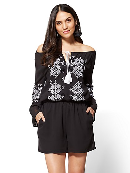 Embroidered Bell-Sleeve Romper - New York & Company