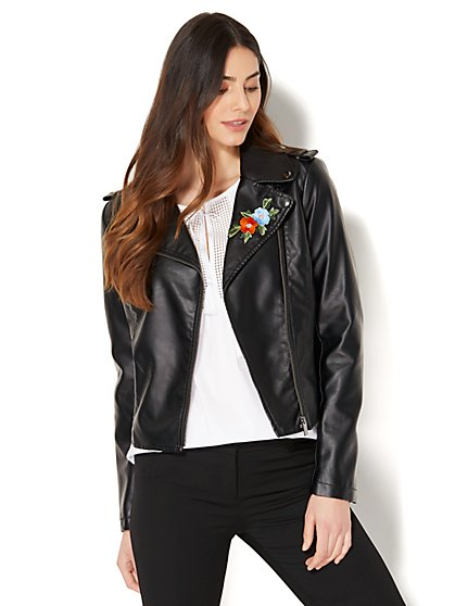 Embroidered Faux-Leather Moto Jacket - New York & Company
