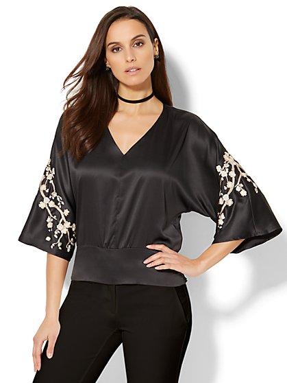 Embroidered Kimono Blouse - New York & Company