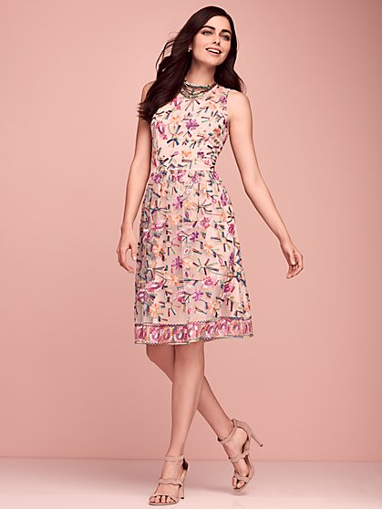 Embroidered Lace Fit & Flare Dress - New York & Company