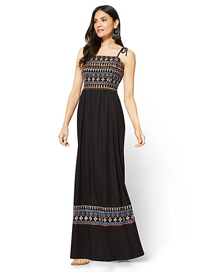 Embroidered Maxi Dress - Black - New York & Company