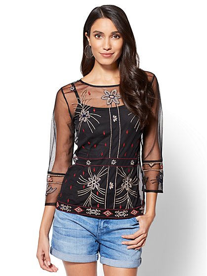 Embroidered Mesh Blouse - New York & Company