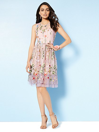 Embroidered Mesh Overlay Fit and Flare Dress - New York & Company