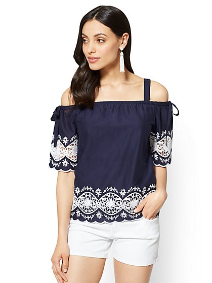 Embroidered Off-The-Shoulder Blouse - Navy - New York & Company