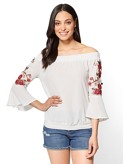 Embroidered Off-The-Shoulder Top - New York & Company
