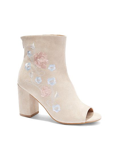 Embroidered Open-Toe Bootie - New York & Company