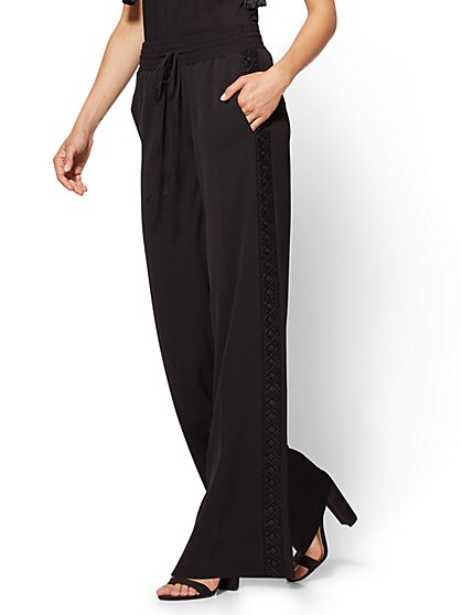 Embroidered Palazzo Pant - Black - New York & Company