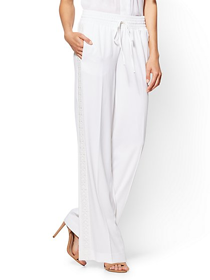 Embroidered Palazzo Pant - White - New York & Company