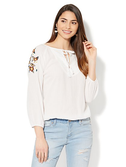 Embroidered & Pleated Tie-Front Blouse - New York & Company