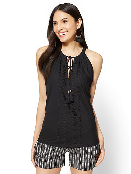 Embroidered Tassel-Accent Halter Blouse - New York & Company