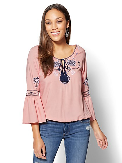 Embroidered Tassel Tie-Front Blouse - New York & Company