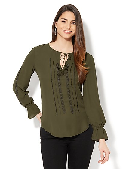 Embroidered Tie-Front Blouse - New York & Company