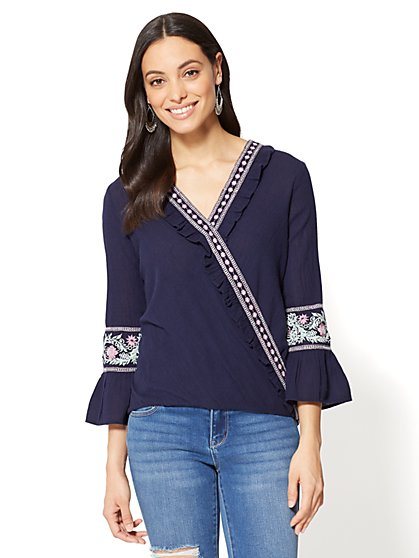 Embroidered Wrap Blouse - New York & Company