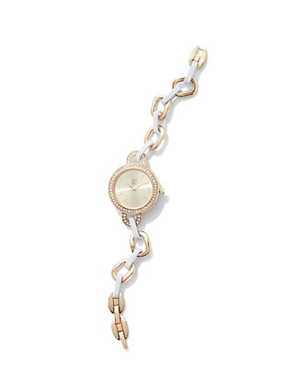Enamel Open-Link Bracelet Watch  - New York & Company