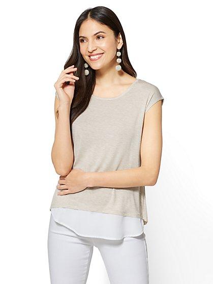 Envelope-Back Twofer T-Shirt - New York & Company