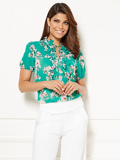 Eva Mendes Collection - Abigail Cap-Sleeve Lace Ruffle Blouse - New York & Company