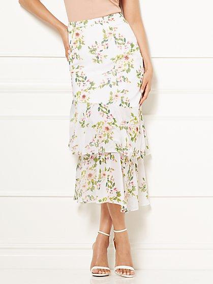 Eva Mendes Collection - Abra Hi-Lo Printed Skirt - Petite - New York & Company