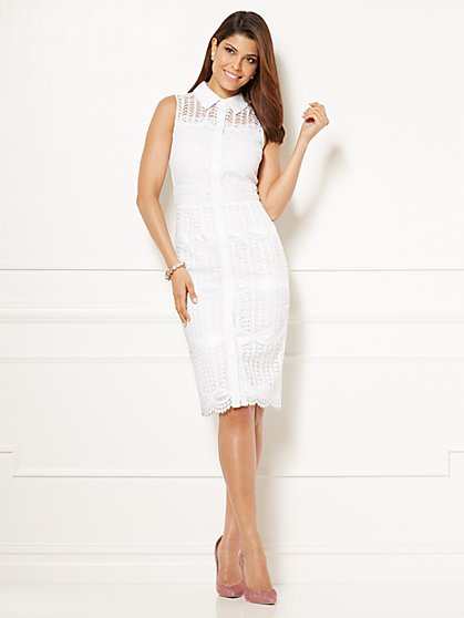 Eva Mendes Collection - Alisa Mixed-Lace Shirtdress - New York & Company